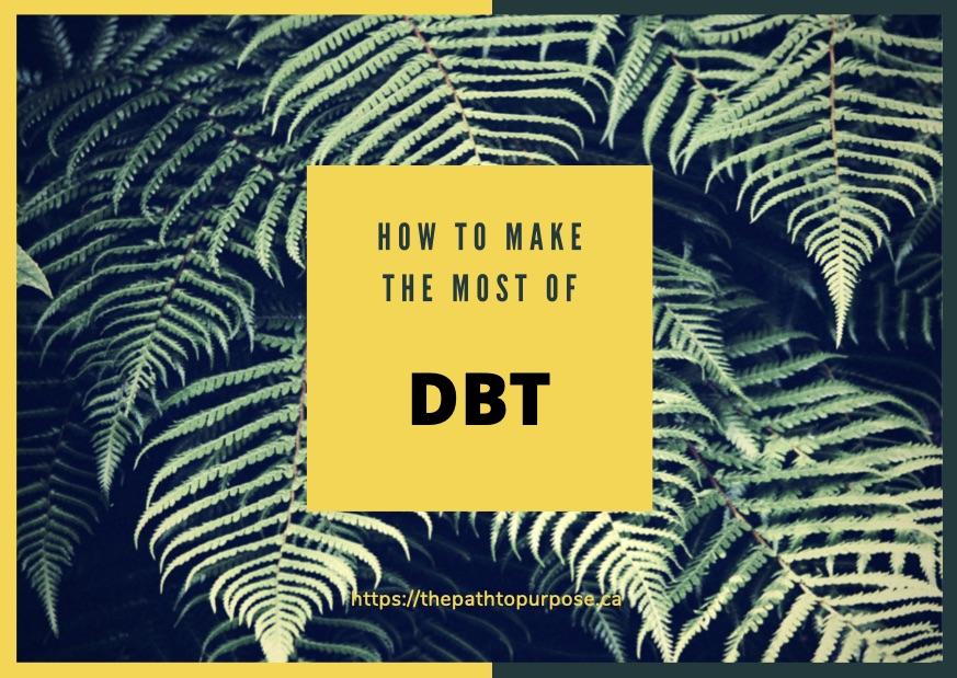 Dark background with palm leaves with description about DBT