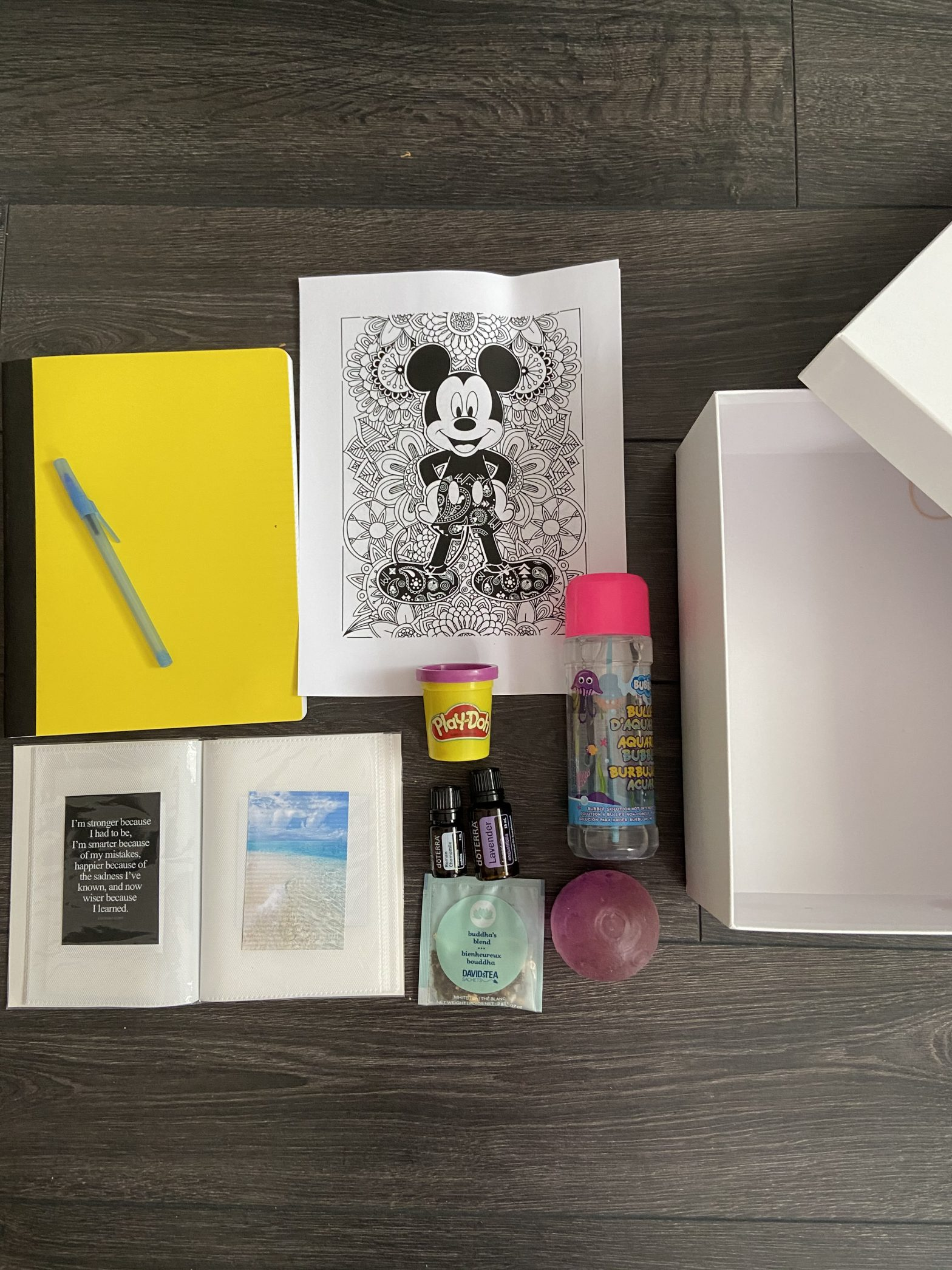 Flat Lay of coping box items